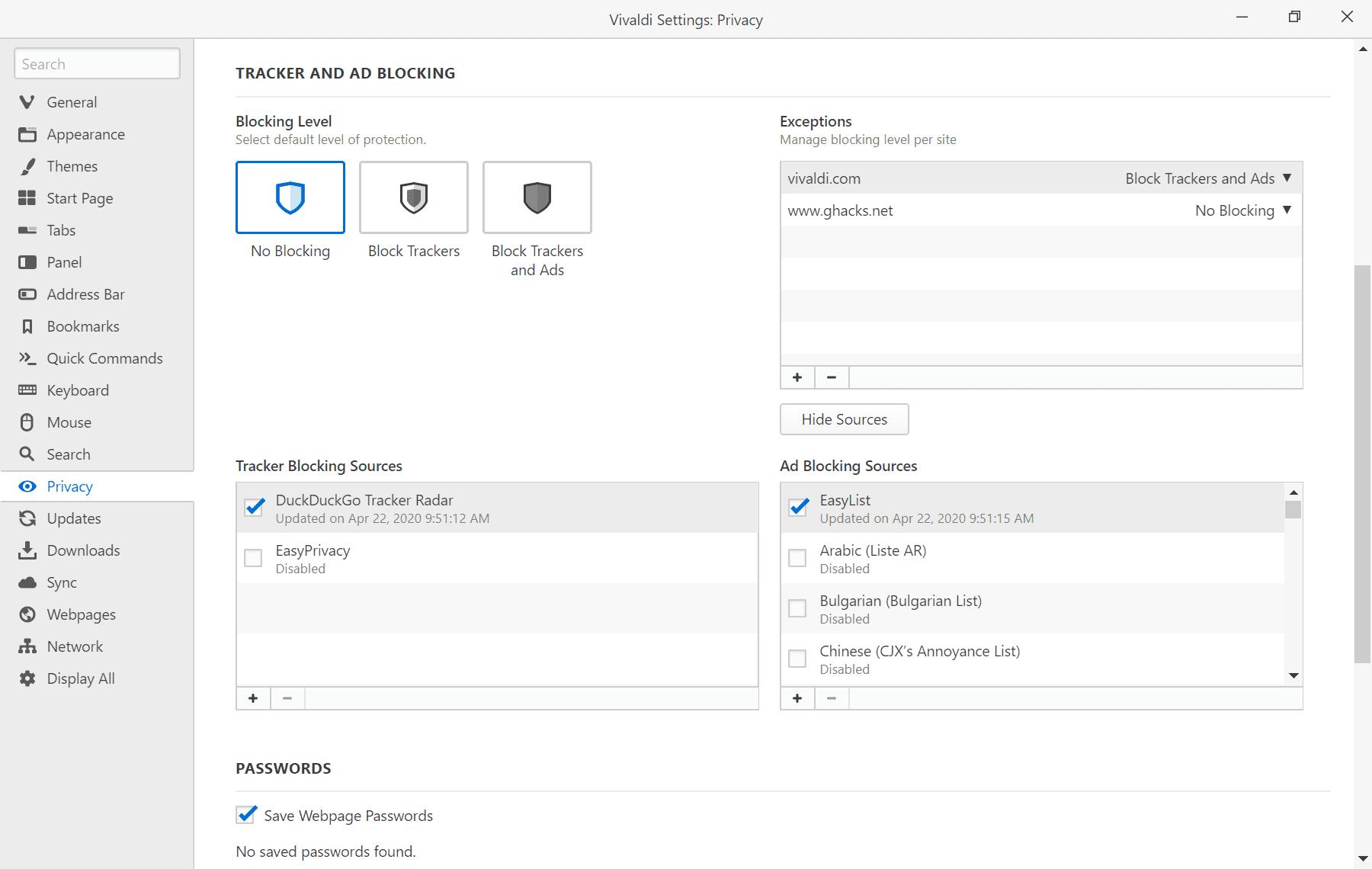 Tracker Blocking utilizeaza in mod implicit lista de blocari a lui DuckDuckGo.